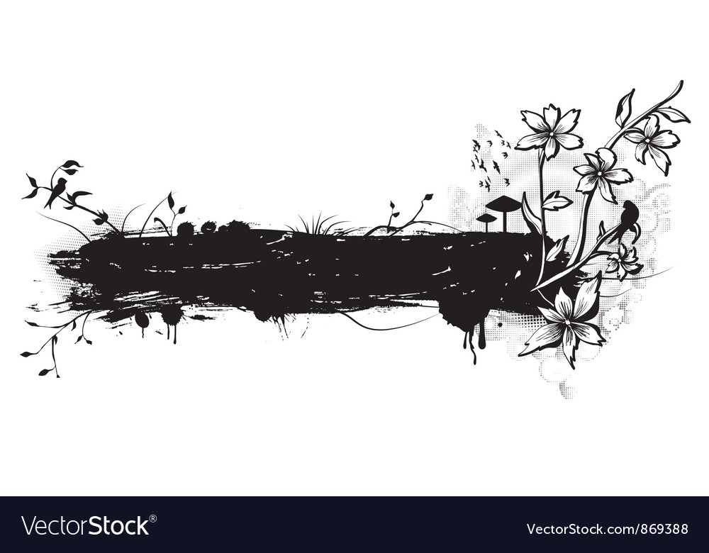 Grunge with floral and birds vector | Price: 1 Credit (USD $1)