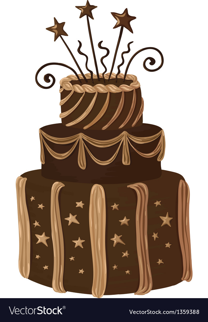 Hand drawn chocolate celebration cake vector | Price: 1 Credit (USD $1)