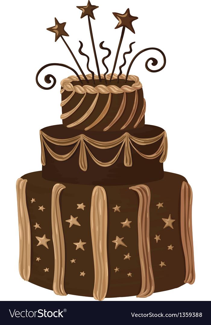 Hand drawn chocolate celebration cake vector | Price: 1 Credit (USD $1)