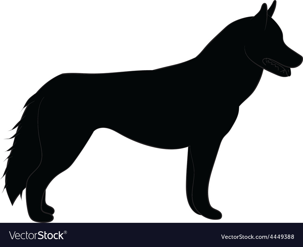 Husky black silhouette vector | Price: 1 Credit (USD $1)
