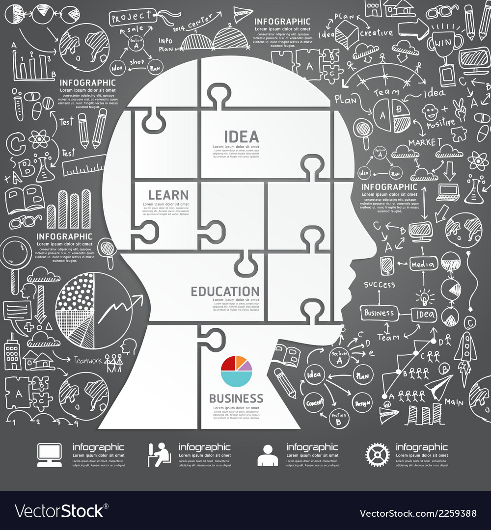 Infographic head jigsaw with doodles line vector | Price: 1 Credit (USD $1)