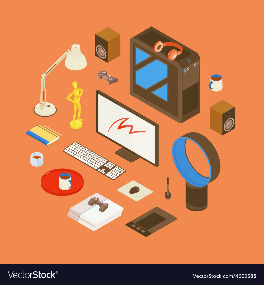 Isometric items from the digital artist workplace vector | Price: 1 Credit (USD $1)