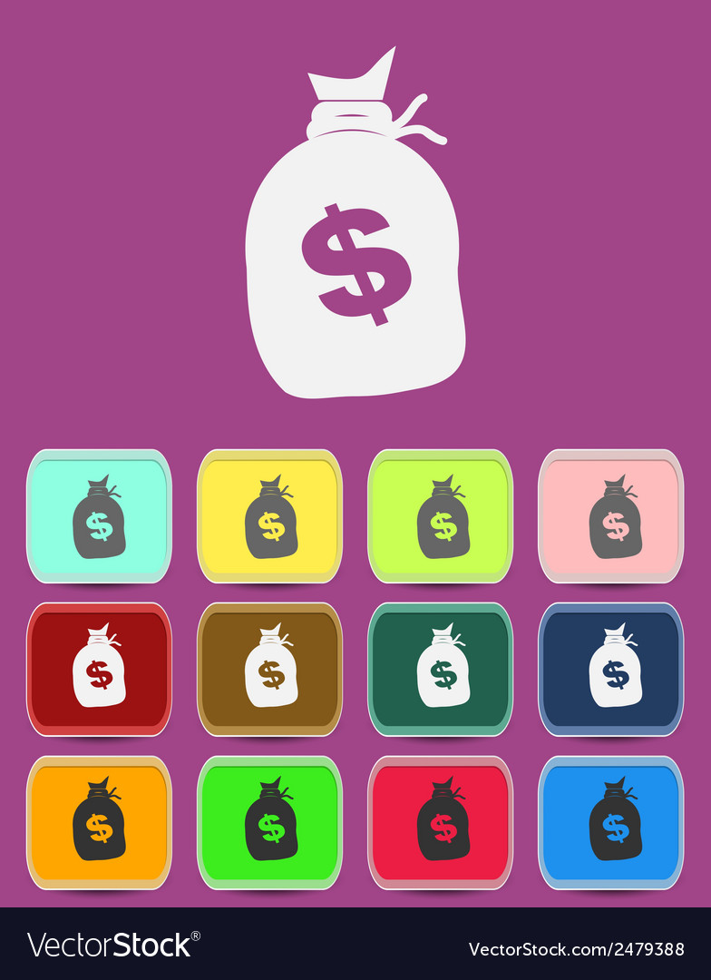 Money bag with a dollar sign icon vector | Price: 1 Credit (USD $1)