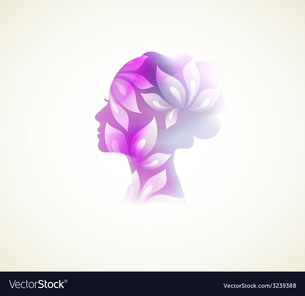 Prifile woman with flowers vector | Price: 1 Credit (USD $1)