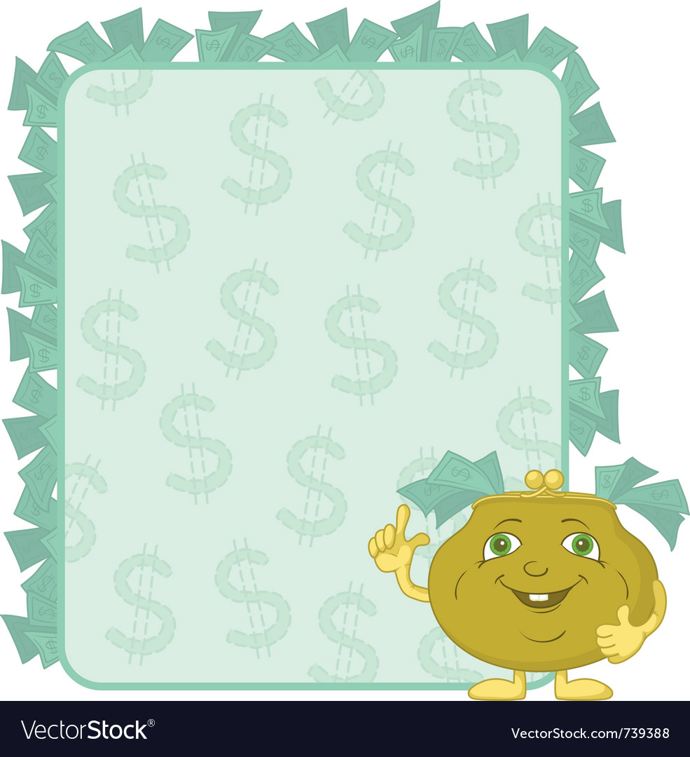 Purse and poster with dollars vector   Price: 1 Credit (USD $1)