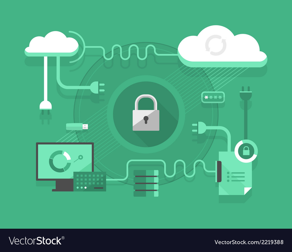 Secure cloud computing vector | Price: 1 Credit (USD $1)