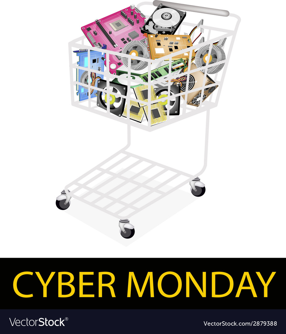 Set of hardware computer in cyber monday shopping vector | Price: 1 Credit (USD $1)