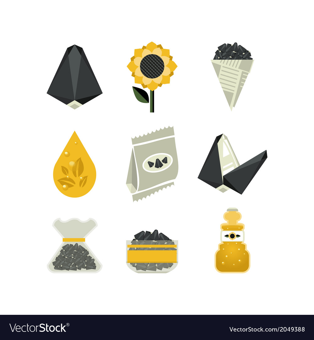 Set of sunflower icons vector | Price: 1 Credit (USD $1)