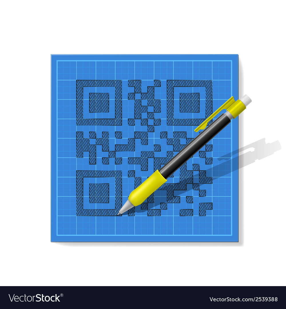 Sketch qr-code vector | Price: 1 Credit (USD $1)