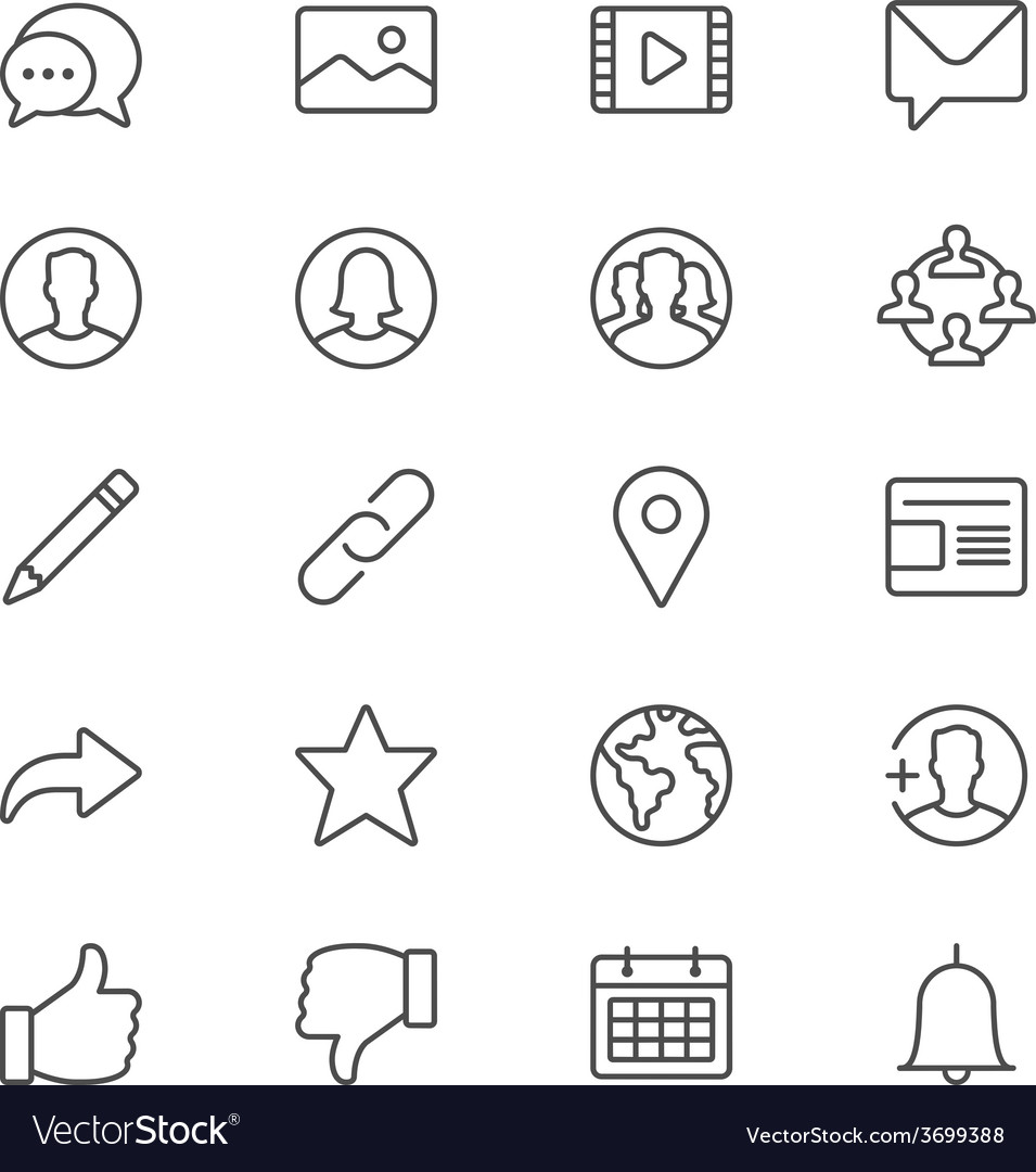 Social network thin icons vector | Price: 1 Credit (USD $1)