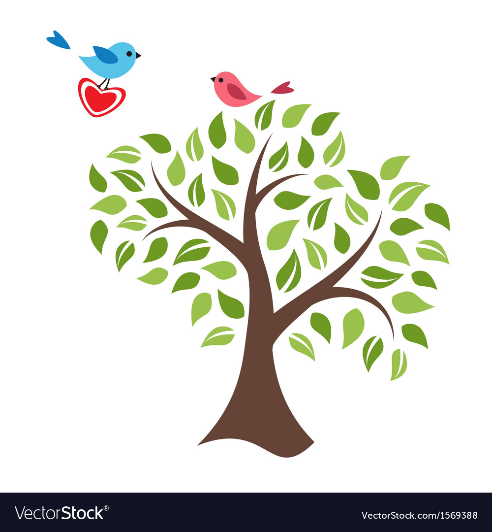 Stylized tree and birds in love vector | Price: 1 Credit (USD $1)