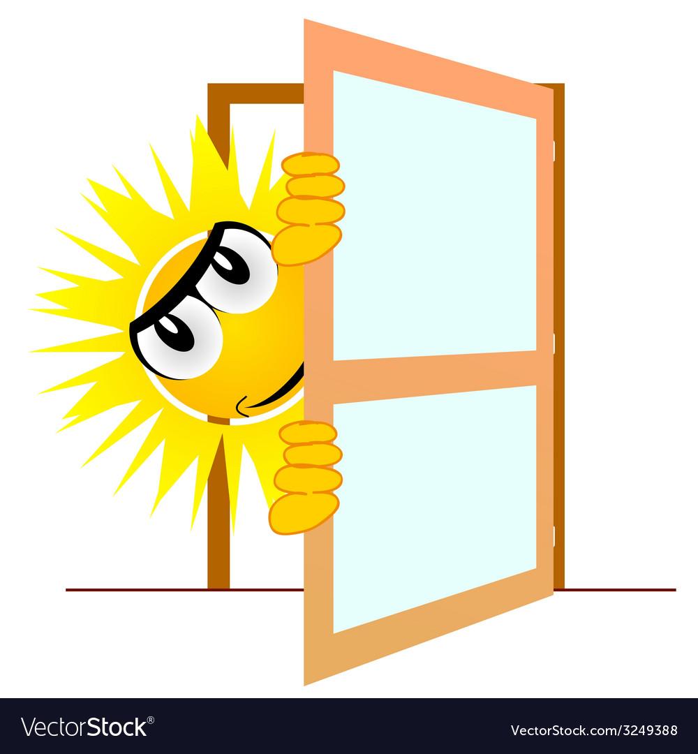 Sun open the door art vector | Price: 1 Credit (USD $1)
