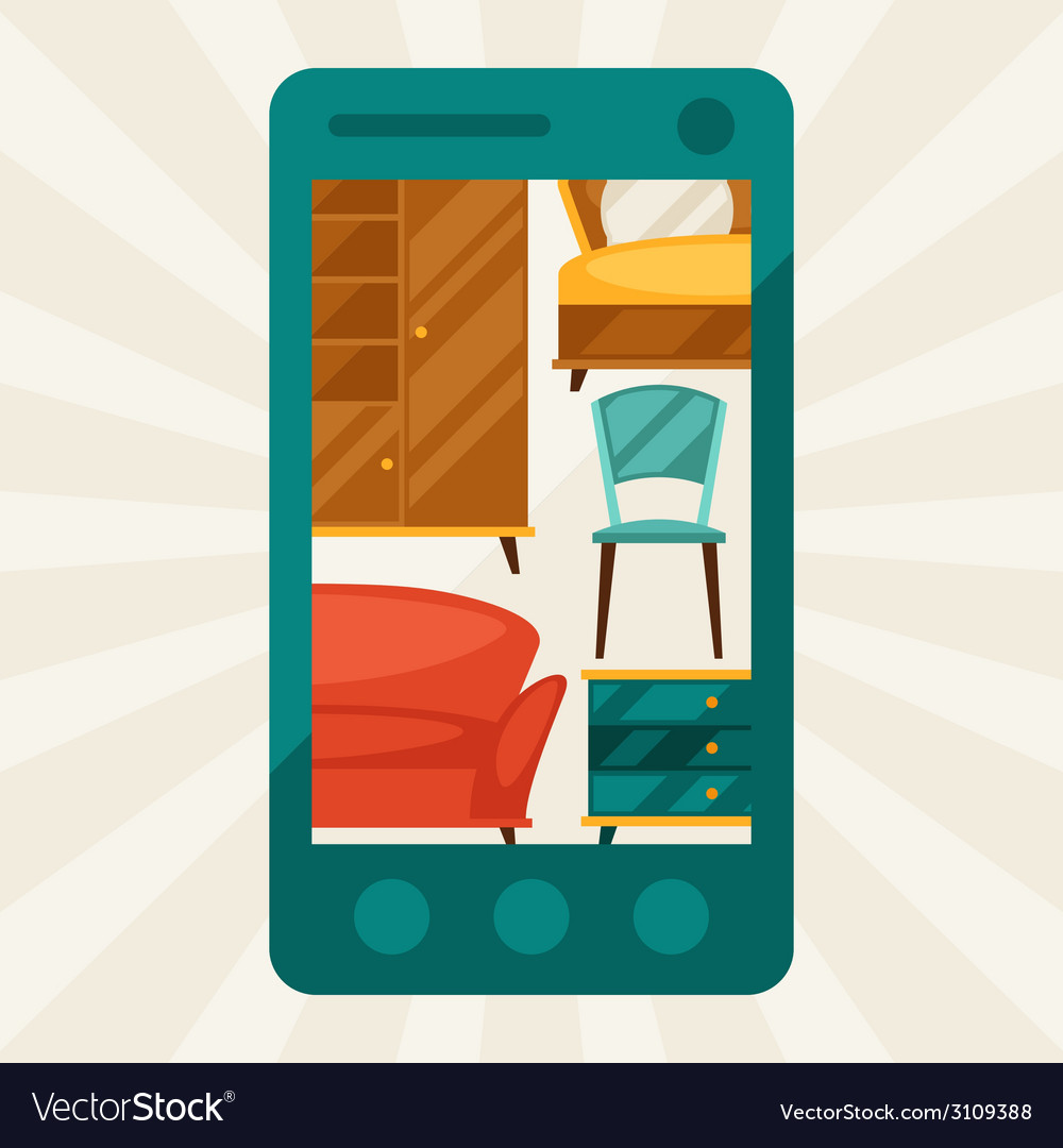 With mobile phone and furniture in retro style vector | Price: 1 Credit (USD $1)