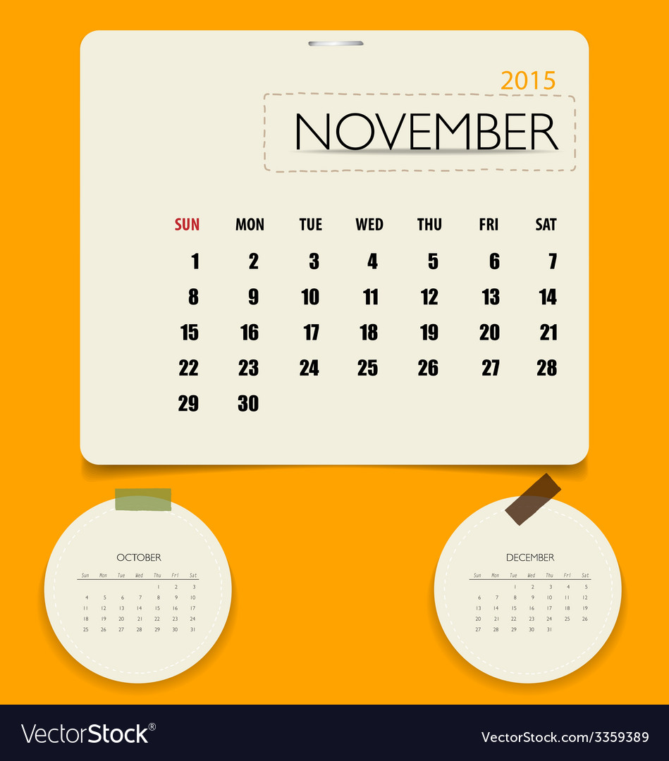 2015 calendar monthly calendar template for vector | Price: 1 Credit (USD $1)