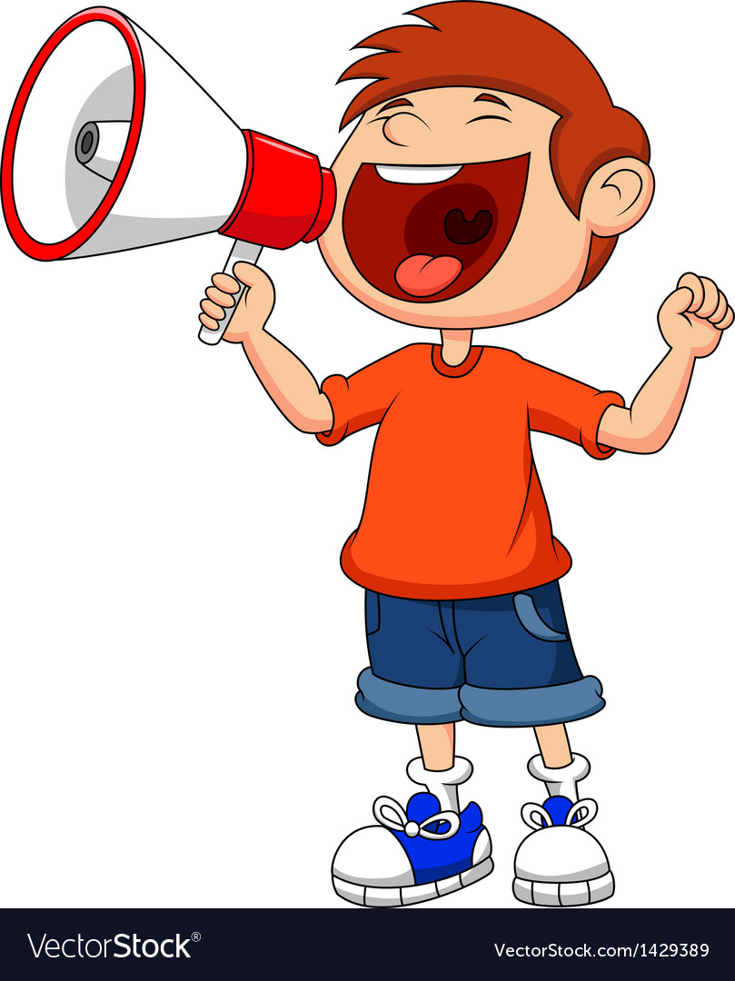 Cartoon boy yelling and shouting into a megaphone vector | Price: 1 Credit (USD $1)