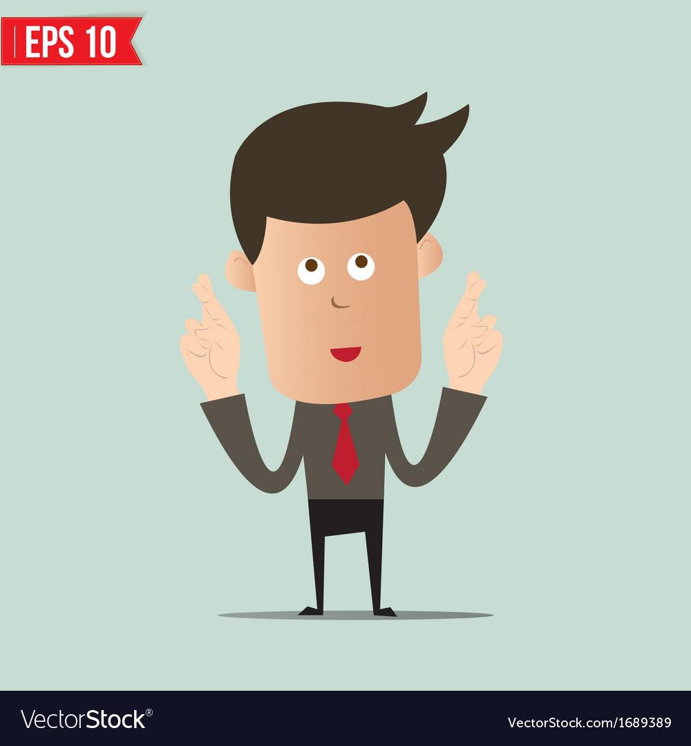 Cartoon businessman making a wish- - eps10 vector | Price: 1 Credit (USD $1)