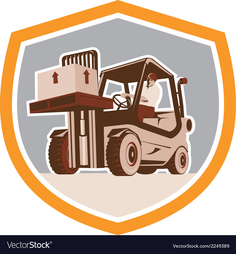 Forklift truck materials handling logistics shield vector | Price: 1 Credit (USD $1)
