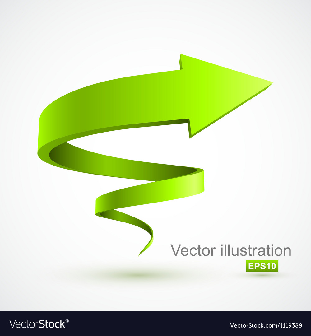 Green spiral arrow 3d vector | Price: 1 Credit (USD $1)