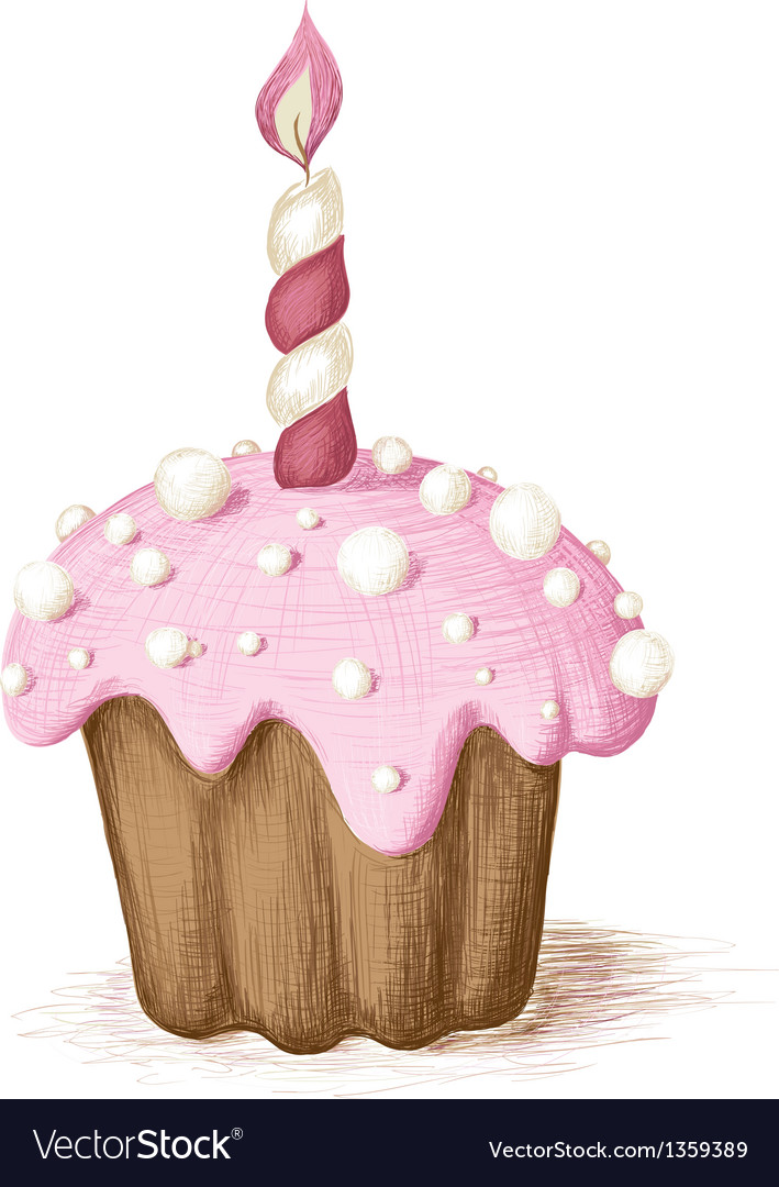 Hand drawn pink celebration muffin vector | Price: 1 Credit (USD $1)