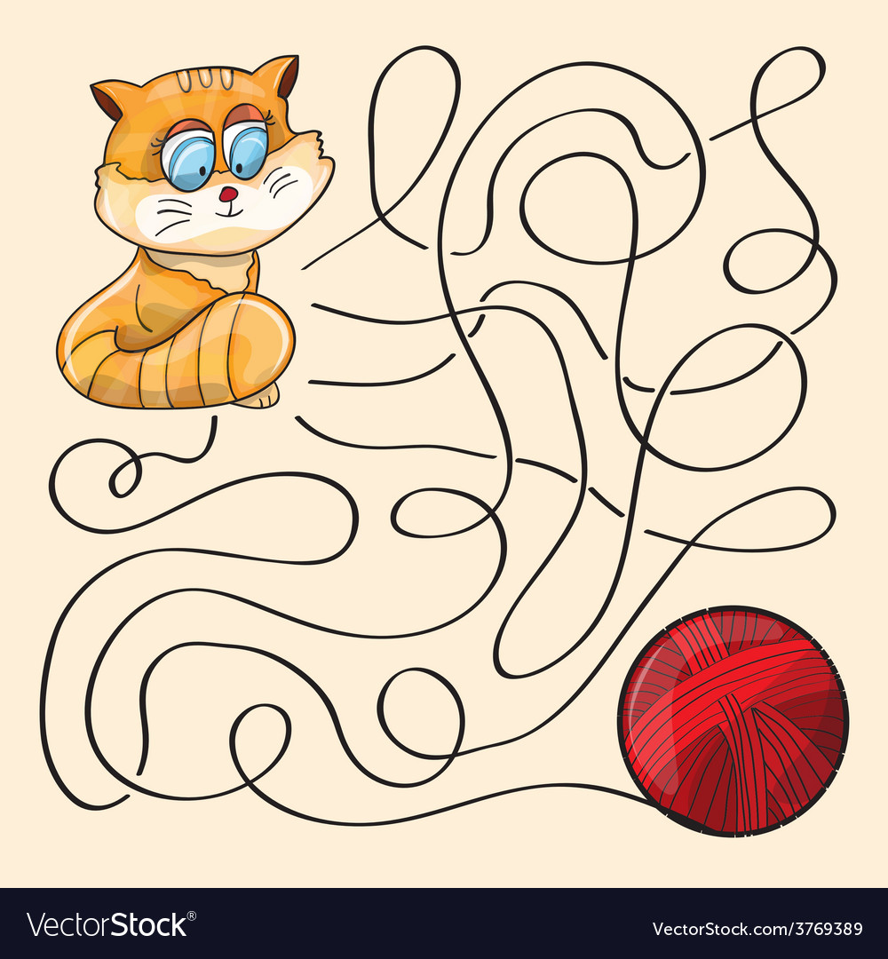 Kitten and wool ball vector | Price: 1 Credit (USD $1)
