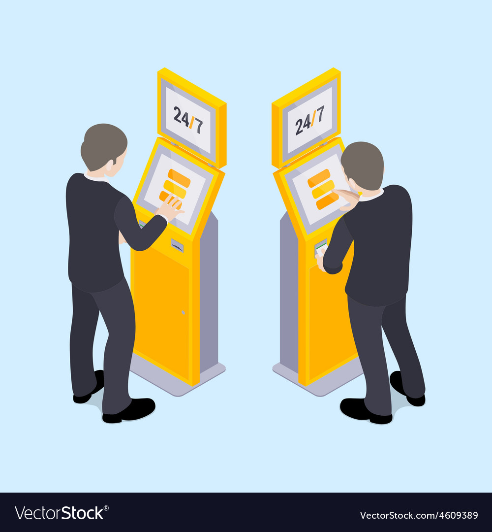 Man in black suit near the payment terminal vector   Price: 1 Credit (USD $1)