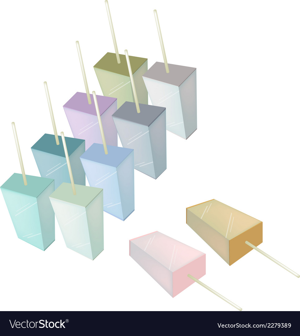 Row of various flavored popsicle ice creams vector | Price: 1 Credit (USD $1)