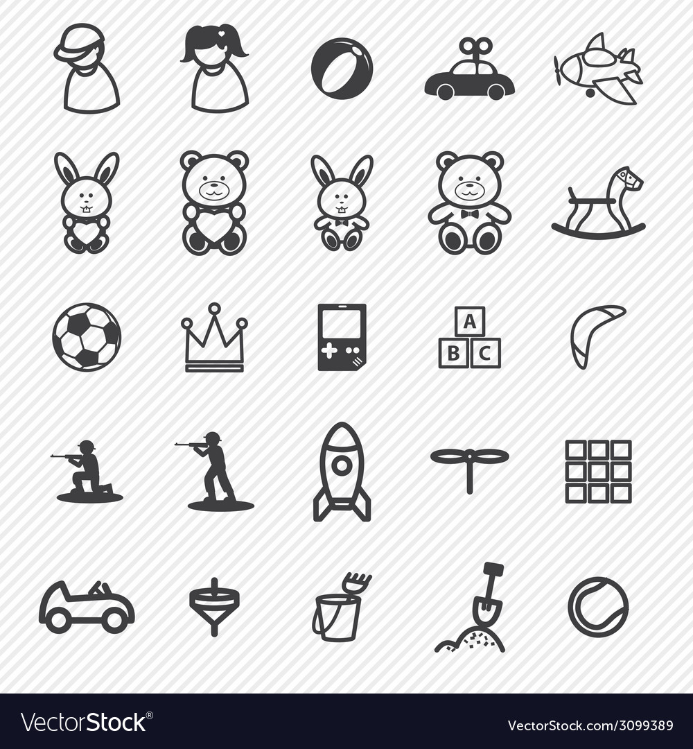 Toy icons set vector