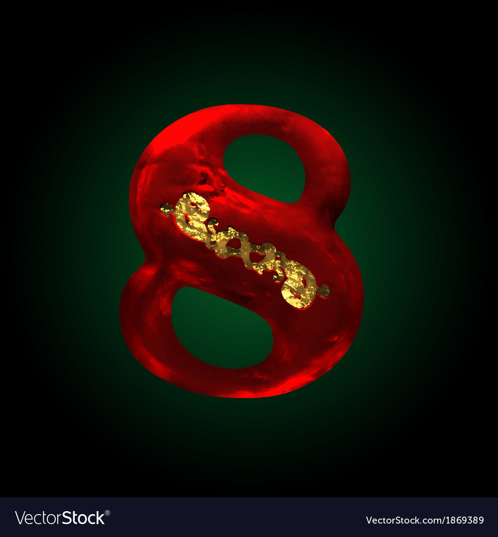 Velvet 8 letter with gold vector | Price: 1 Credit (USD $1)