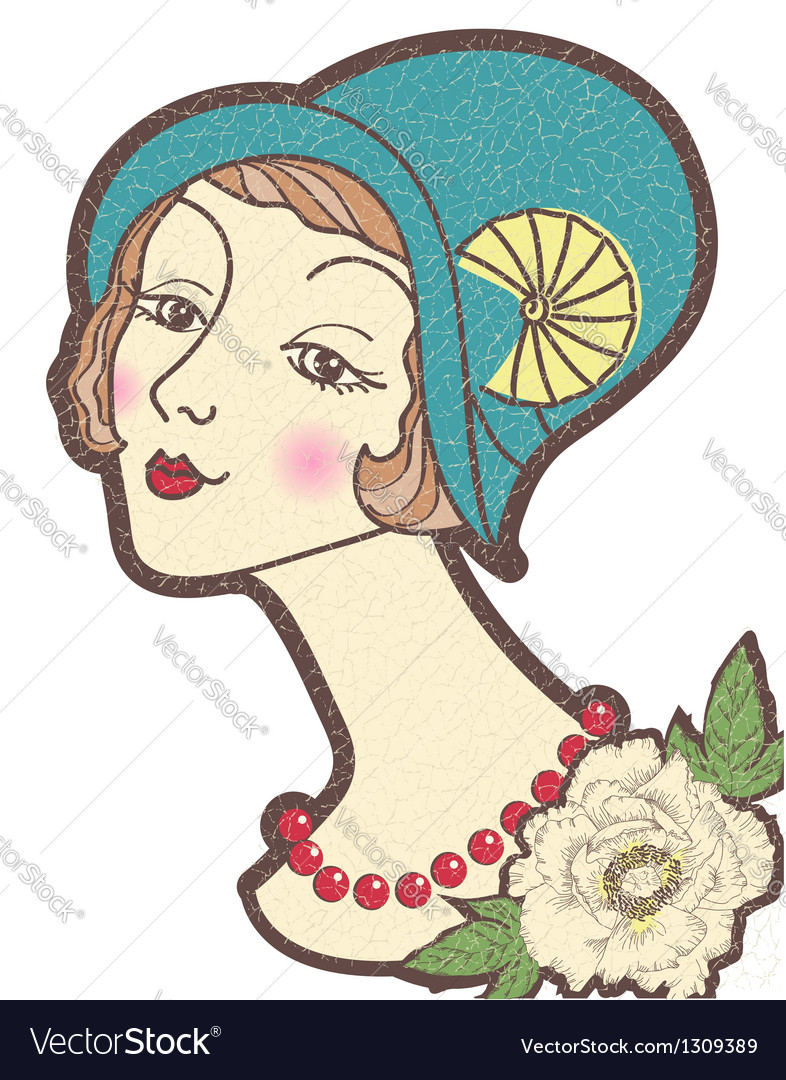 Vintage nice woman in a hat isolated on whit vector | Price: 1 Credit (USD $1)