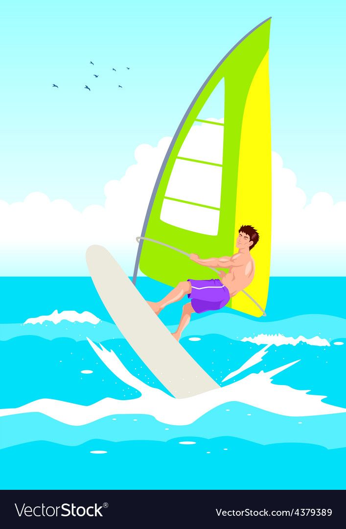 Wind surfing vector | Price: 1 Credit (USD $1)