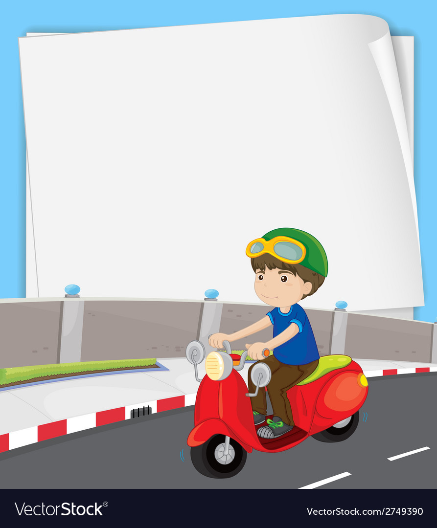 Boy on motorbike vector | Price: 1 Credit (USD $1)