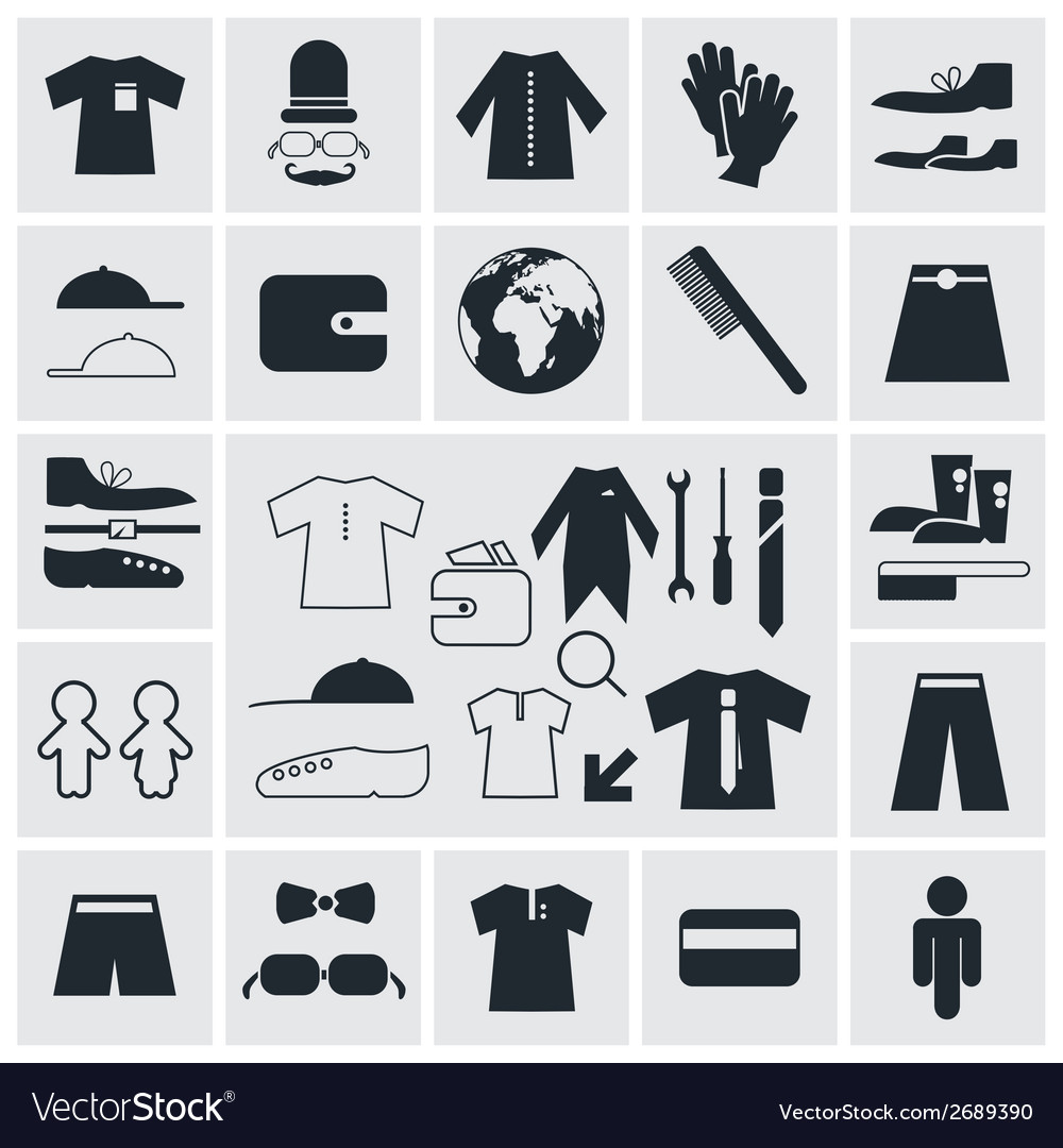 Clothes - fashion square flat icons vector | Price: 1 Credit (USD $1)