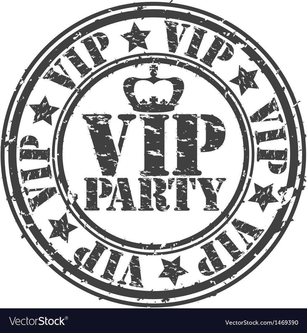 Grunge vip party rubber stamp vector