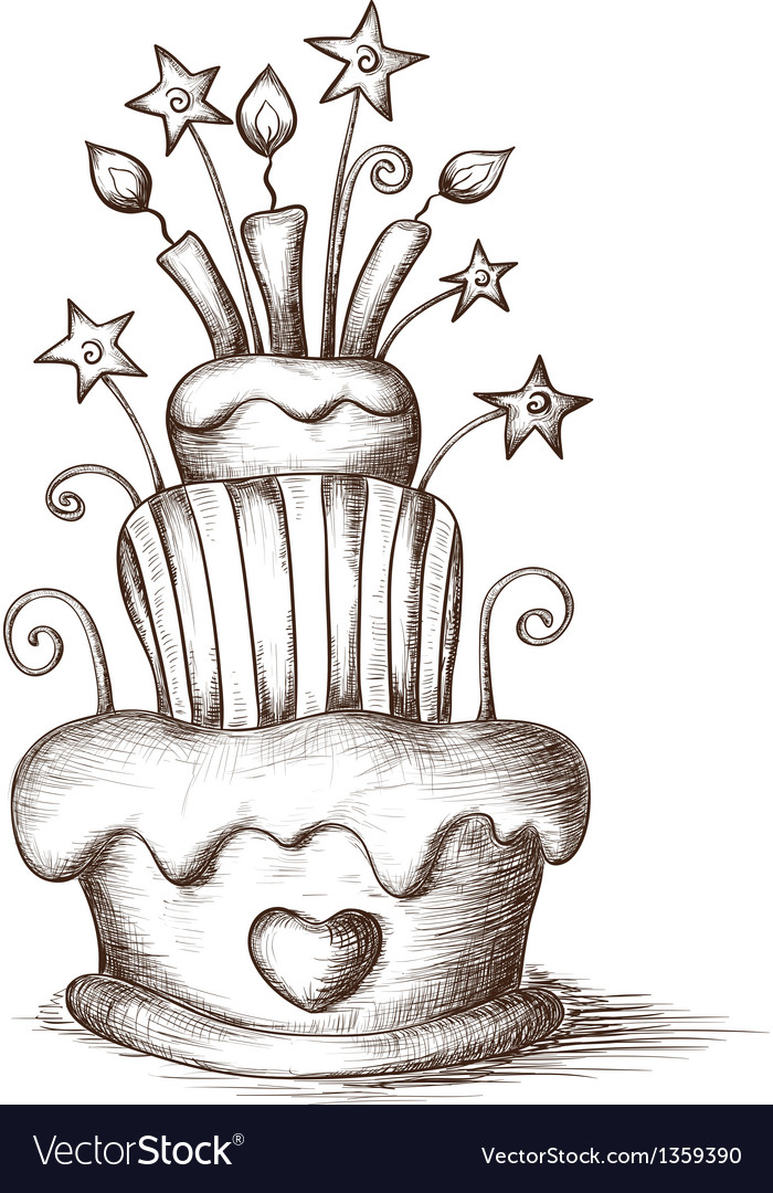 Hand drawn celebration cake vector | Price: 1 Credit (USD $1)