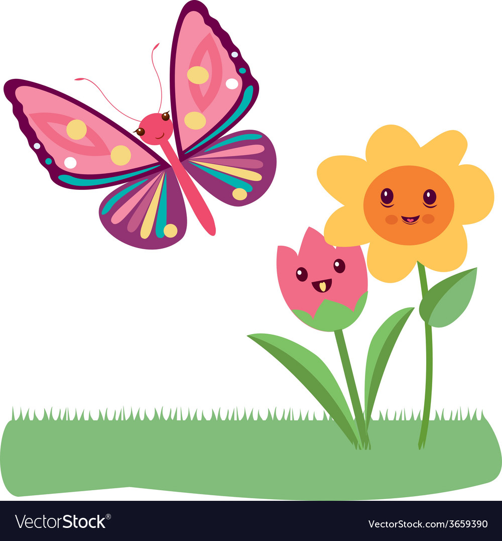 Kawaii flowers vector | Price: 1 Credit (USD $1)