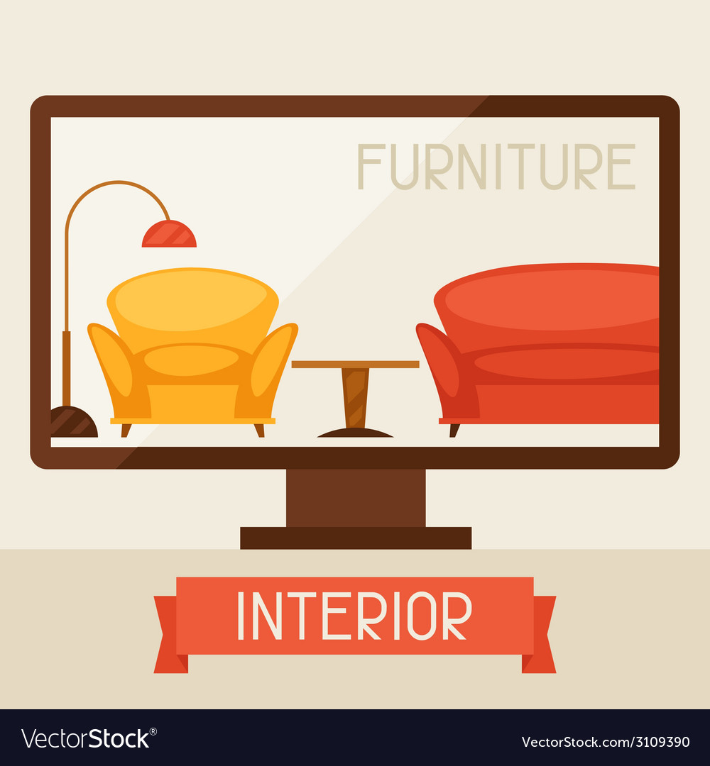 With computer and furniture in retro style vector | Price: 1 Credit (USD $1)