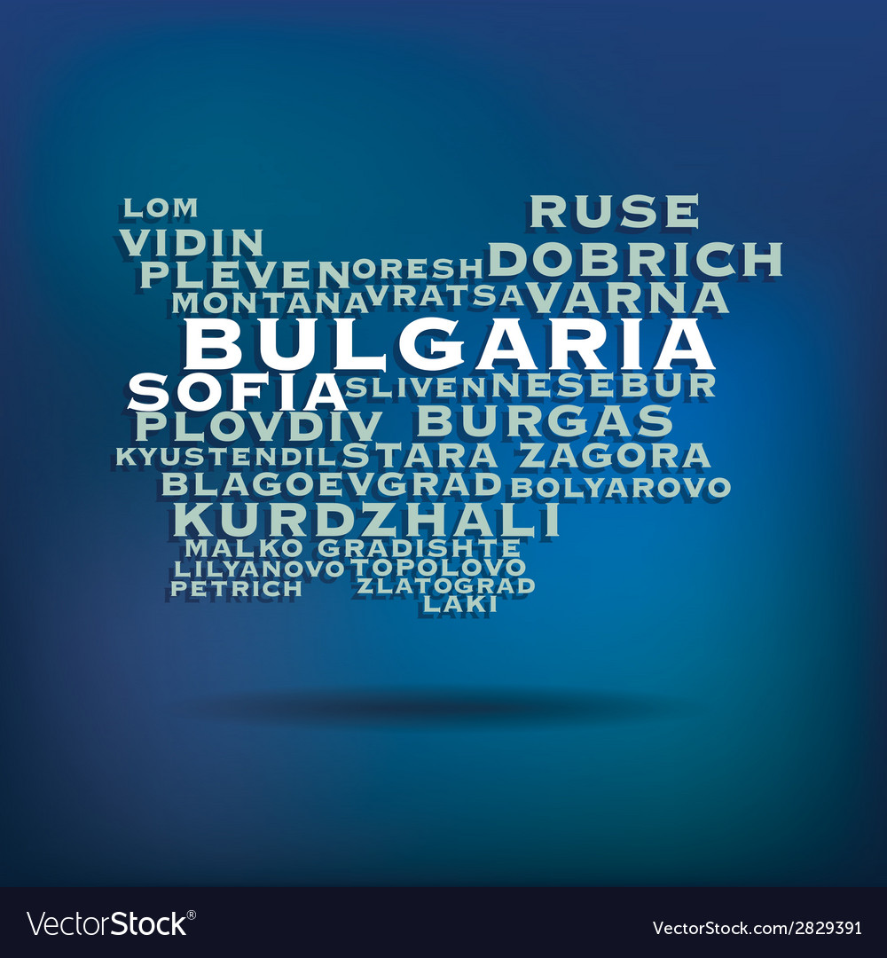 Bulgaria map made with name of cities vector | Price: 1 Credit (USD $1)