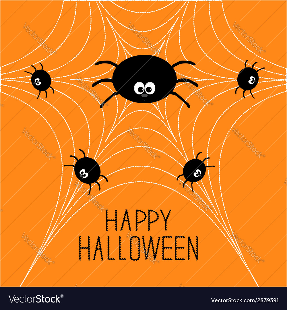 Cute cartoon spider family on the web halloween vector | Price: 1 Credit (USD $1)