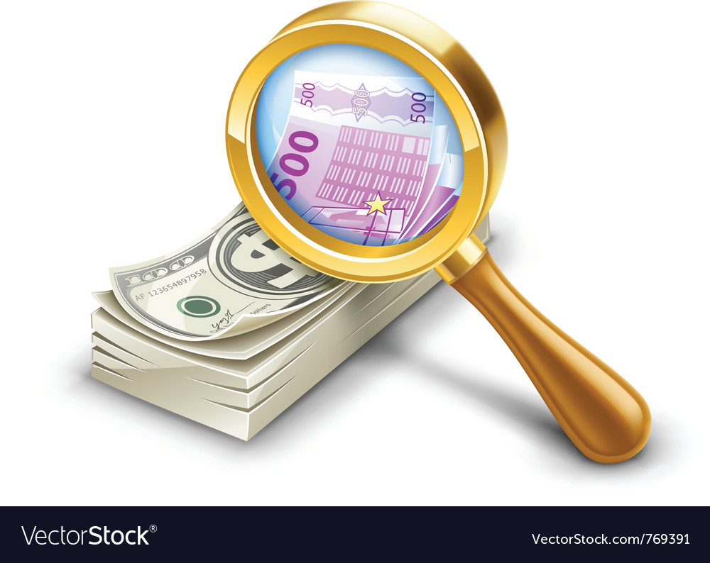 Dollar pack becomes euro look through magnifier vector | Price: 3 Credit (USD $3)