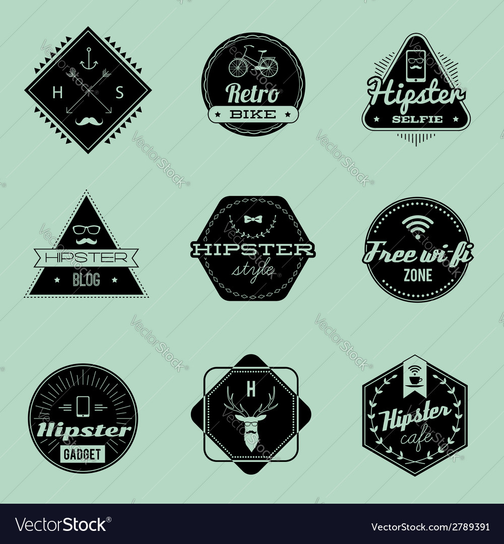 Hipster emblems green vector | Price: 1 Credit (USD $1)