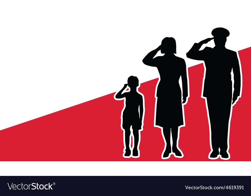 Poland soldier family salute vector | Price: 1 Credit (USD $1)