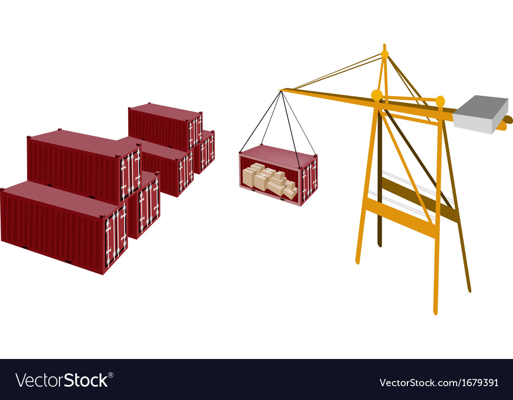 Red cargo container being hoisted by a crane vector | Price: 1 Credit (USD $1)