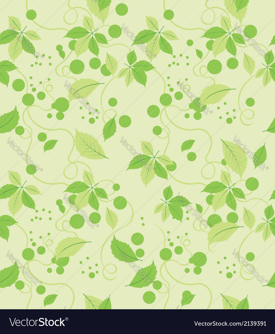 Seamless abstract green leaves pattern vector | Price: 1 Credit (USD $1)