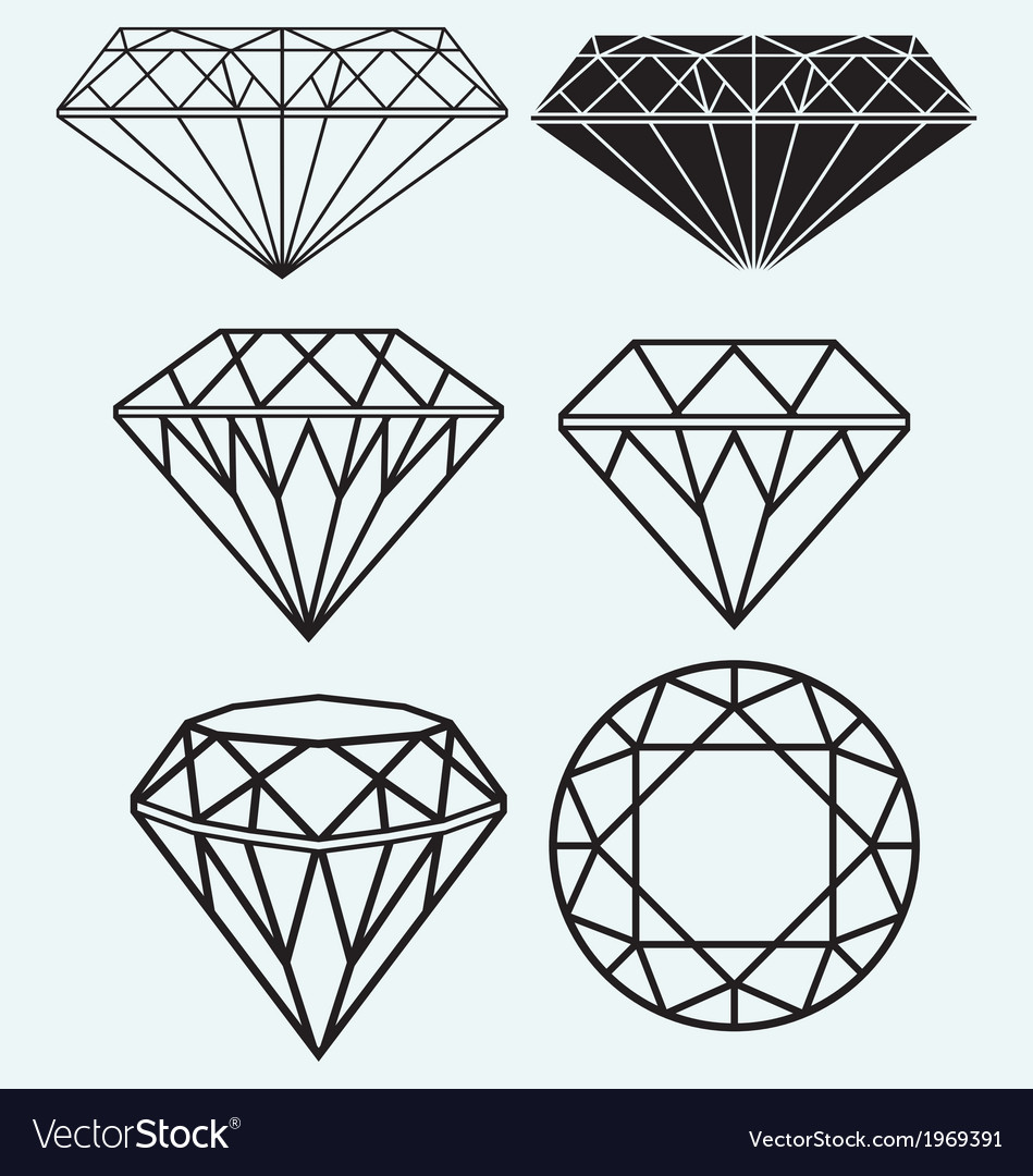 Set of diamond design elements vector | Price: 1 Credit (USD $1)