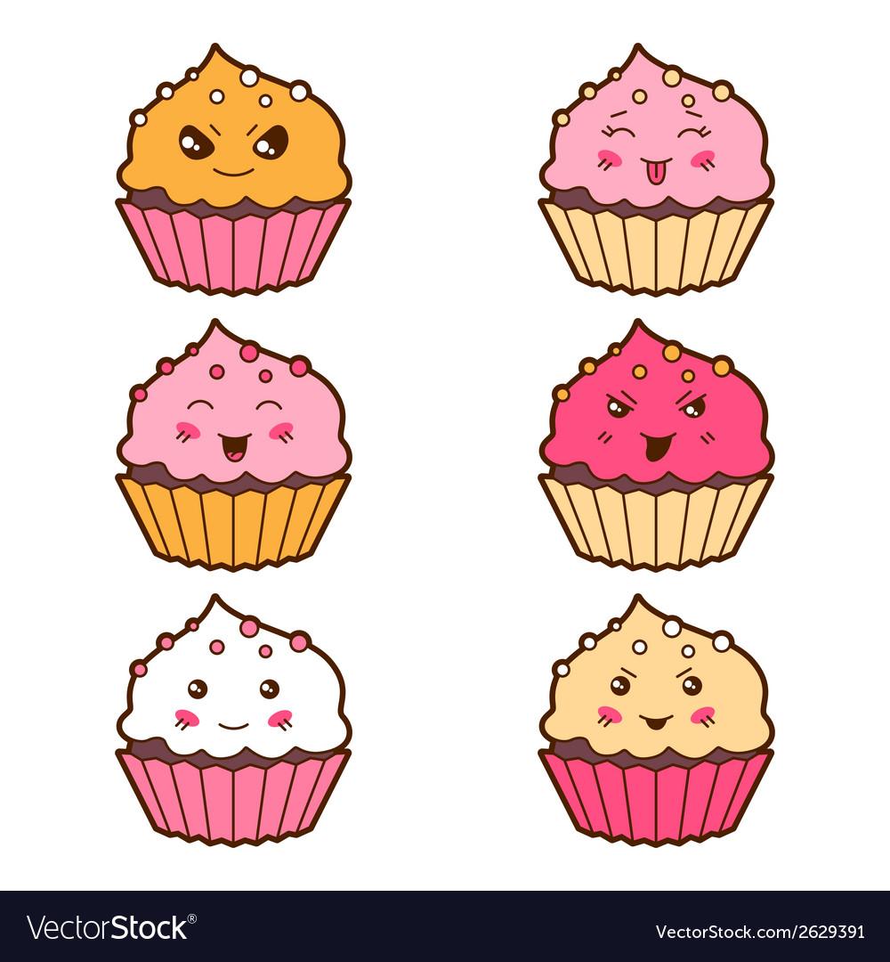 Set of kawaii cupcakess with different facial vector | Price: 1 Credit (USD $1)