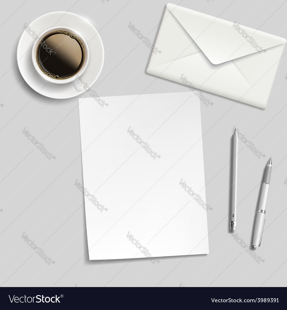 Sheet of paper envelope pen and cup of coffee on vector | Price: 1 Credit (USD $1)