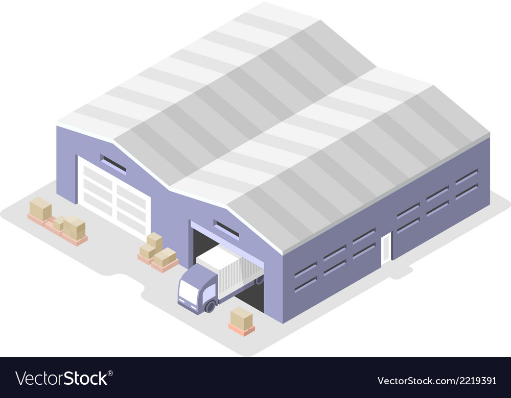 Truck in the warehouse distribution center vector | Price: 1 Credit (USD $1)