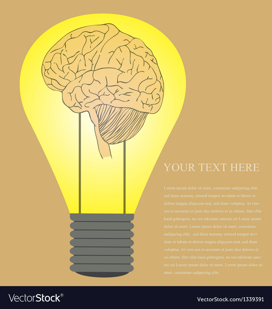 Vintage style of brain in light bulb idea vector | Price: 1 Credit (USD $1)