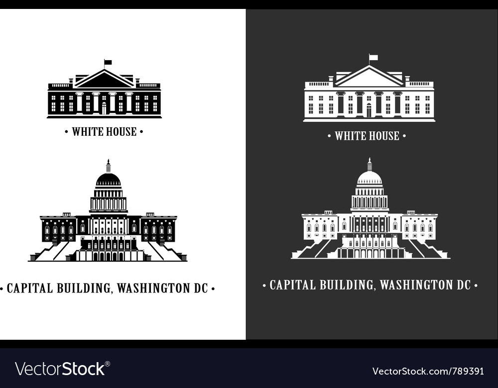 White house and capitol building in washington vector | Price: 1 Credit (USD $1)