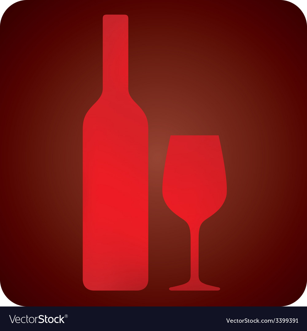 With bottle and wineglass bar sign vector | Price: 1 Credit (USD $1)